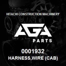 0001932 Hitachi HARNESS,WIRE (CAB) | AGA Parts