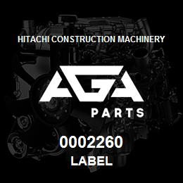 0002260 Hitachi Label | AGA Parts