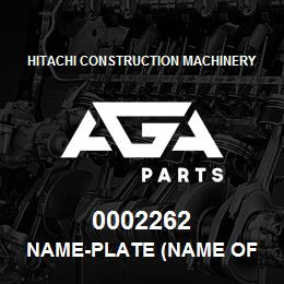 0002262 Hitachi NAME-PLATE (NAME OF MACHINE:EX210LCH) | AGA Parts