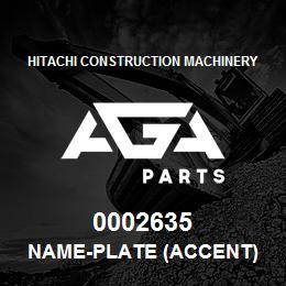 0002635 Hitachi NAME-PLATE (ACCENT) | AGA Parts