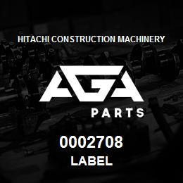 0002708 Hitachi LABEL | AGA Parts