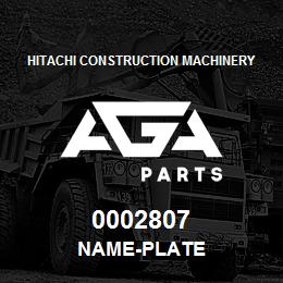 0002807 Hitachi NAME-PLATE | AGA Parts