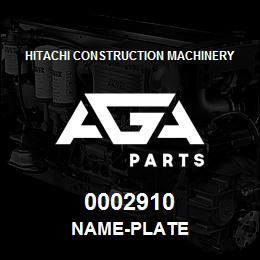 0002910 Hitachi NAME-PLATE | AGA Parts