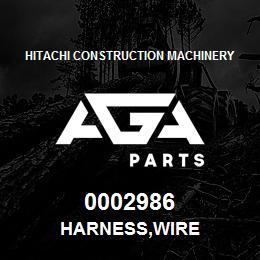 0002986 Hitachi HARNESS,WIRE | AGA Parts