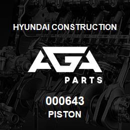 000643 Hyundai Construction PISTON | AGA Parts