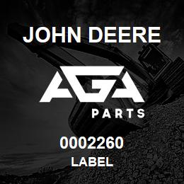 0002260 John Deere LABEL | AGA Parts