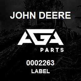 0002263 John Deere LABEL | AGA Parts