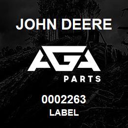 0002263 John Deere LABEL