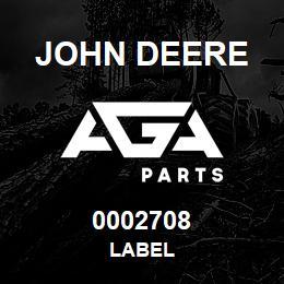 0002708 John Deere LABEL