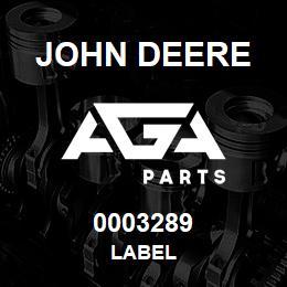 0003289 John Deere LABEL