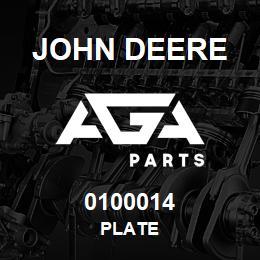 0100014 John Deere PLATE | AGA Parts