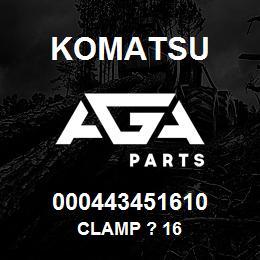 000443451610 Komatsu Clamp ? 16   AGA Parts