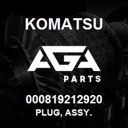000819212920 Komatsu Plug, assy. | AGA Parts