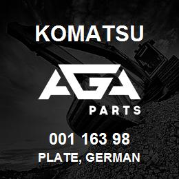 001 163 98 Komatsu Plate, german | AGA Parts