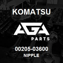 00205-03600 Komatsu NIPPLE | AGA Parts
