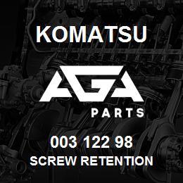 003 122 98 Komatsu Screw retention | AGA Parts