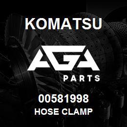 00581998 Komatsu HOSE CLAMP | AGA Parts