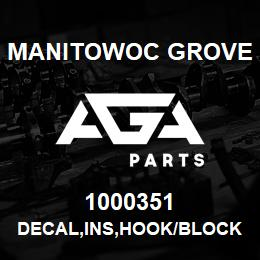 1000351 Manitowoc Grove DECAL,INS,HOOK/BLOCK LIMIT,E | AGA Parts