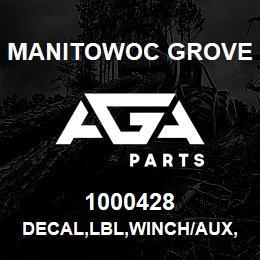 1000428 Manitowoc Grove DECAL,LBL,WINCH/AUX,E | AGA Parts