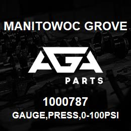 1000787 Manitowoc Grove GAUGE,PRESS,0-100PSI,2.5 | AGA Parts