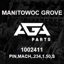 1002411 Manitowoc Grove PIN,MACH,.234,1.50,STL | AGA Parts