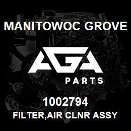 1002794 Manitowoc Grove FILTER,AIR CLNR ASSY,BLACK | AGA Parts