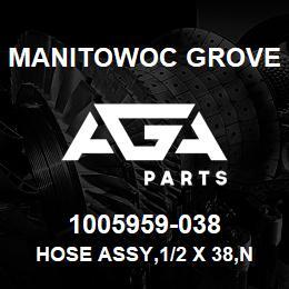 1005959-038 Manitowoc Grove HOSE ASSY,1/2 X 38,NYLN SHEATH | AGA Parts