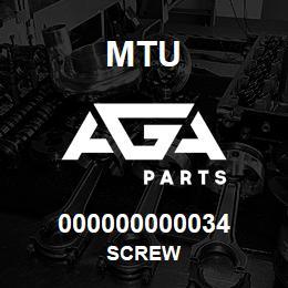 000000000034 MTU Screw | AGA Parts