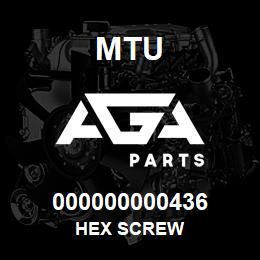 000000000436 MTU HEX SCREW | AGA Parts