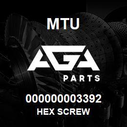 000000003392 MTU HEX SCREW | AGA Parts