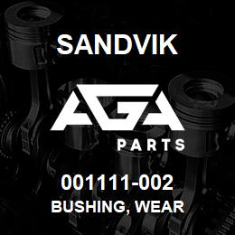 001111-002 Sandvik BUSHING, WEAR | AGA Parts