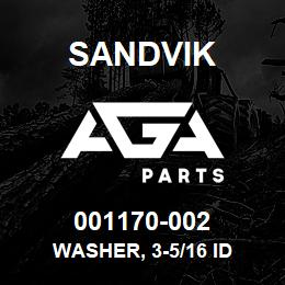 001170-002 Sandvik WASHER, 3-5/16 ID | AGA Parts