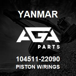 104511-22090 Yanmar piston w/rings | AGA Parts